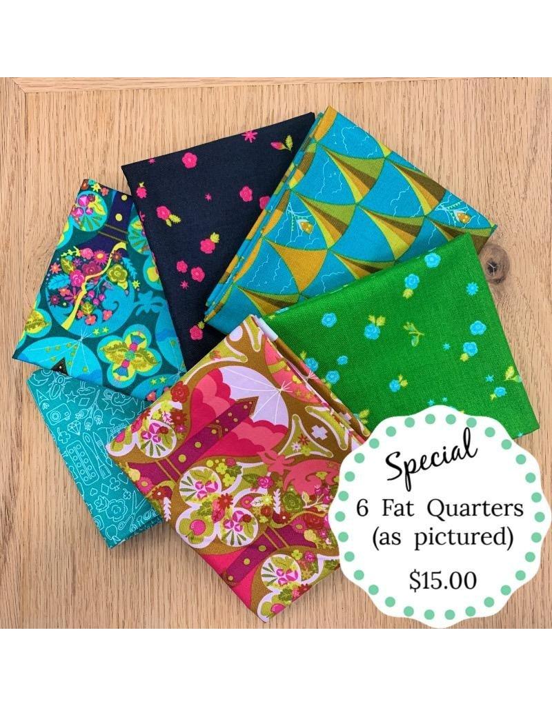 Fat Quarter Bundle Special 6 Pcs Picking Daisies,Crochet Beanie Pattern
