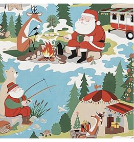 Alexander Henry Fabrics Christmas Time, Santa Goes Glamping in Multi, Fabric Half-Yards 8843A