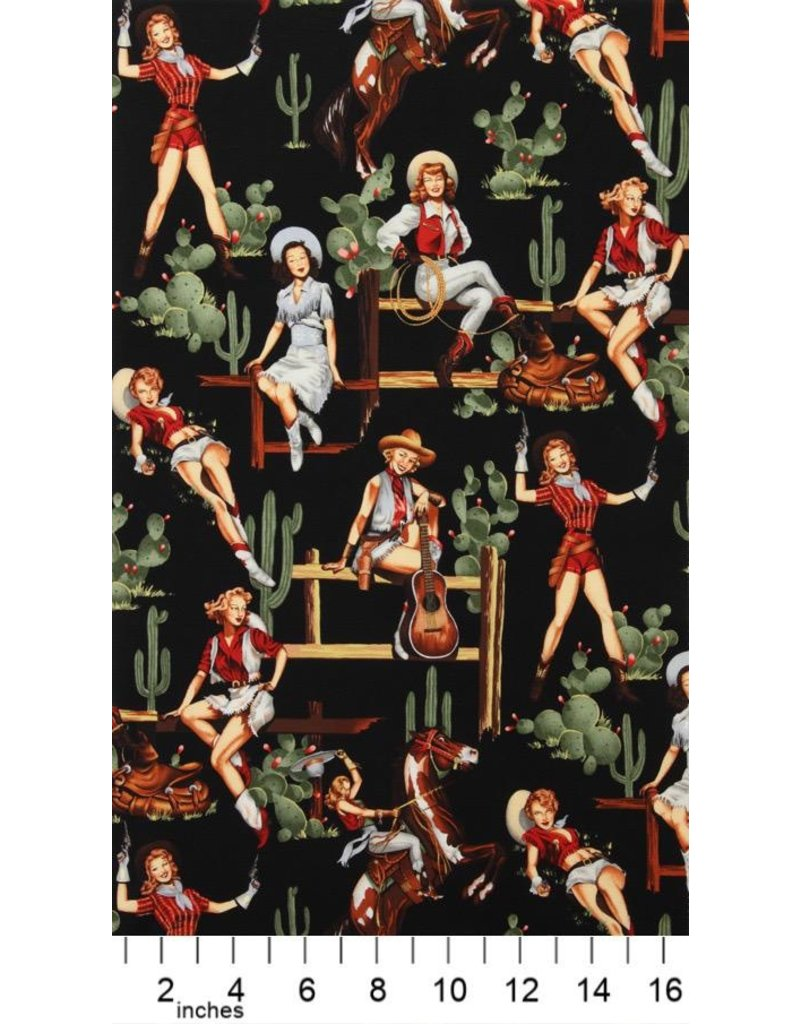 Alexander Henry Fabrics Santa Fe, From the Hip in Black, Fabric Half-Yards 2494F