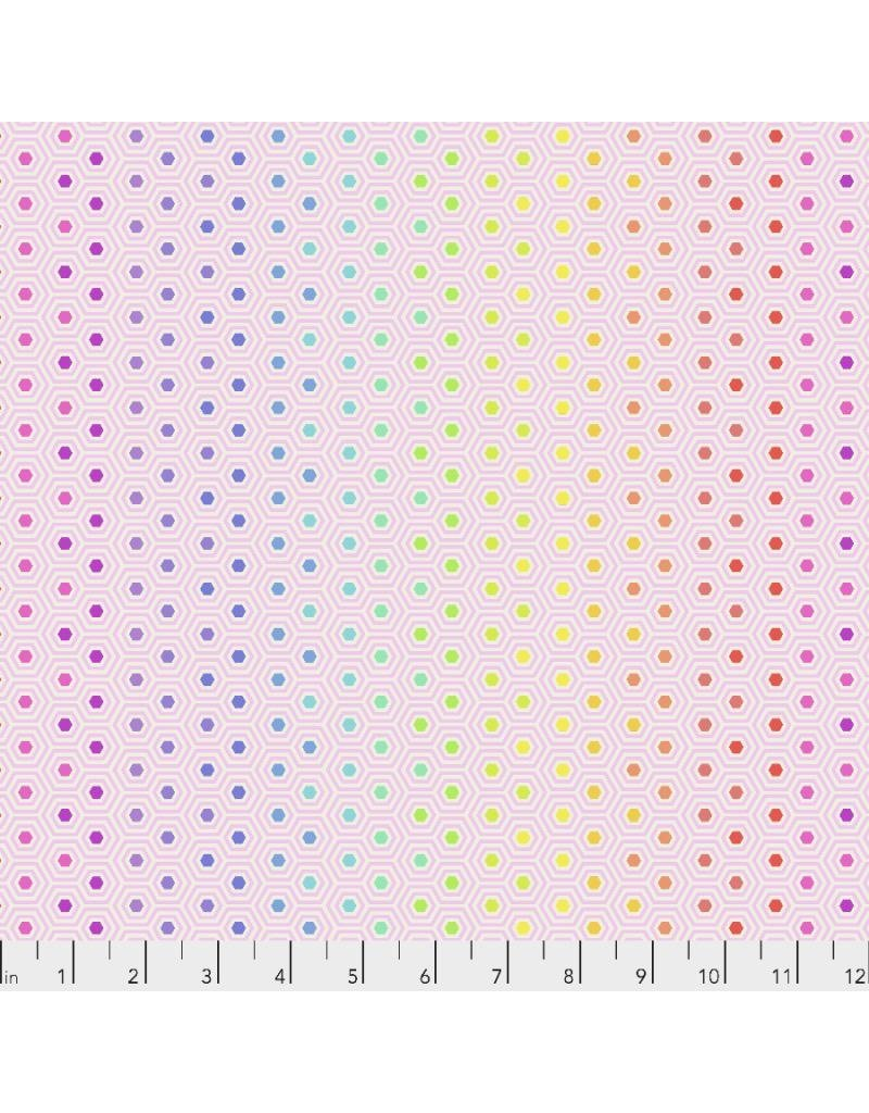 PD's Tula Pink Collection Tula's True Colors, Hexy Rainbow in Shell, Dinner Napkin