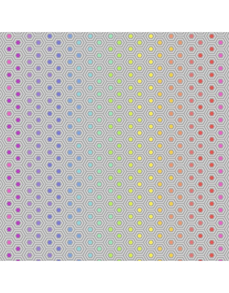 """Tula Pink Tula's True Colors, Hexy Rainbow in Dove, Fabric Half-Yards PWTP151<br /> (20"""" cut remaining)"""