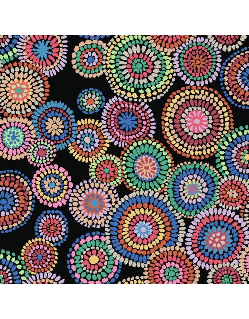 Kaffe Fassett Kaffe Collective 2020, Mosaic Circles in Black, Fabric   PWGP176 1/3 yard cut remaining