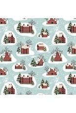Tim Holtz Yuletide by Tim Holtz, Winter Village in Aqua, Fabric Half-Yards PWTH125