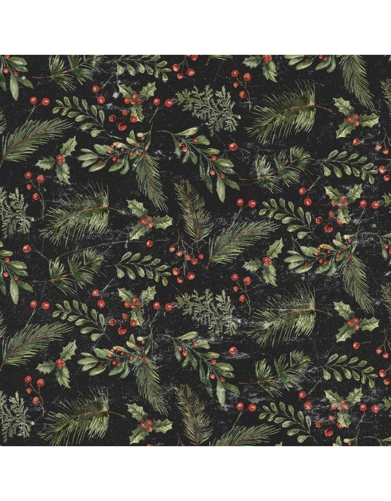 Tim Holtz Yuletide by Tim Holtz, Festive Greens in Black, Fabric Half-Yards PWTH120