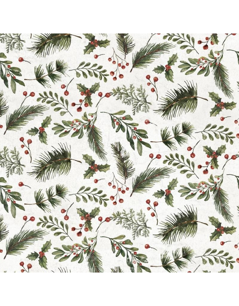 Tim Holtz Yuletide by Tim Holtz, Festive Greens in White, Fabric Half-Yards PWTH120