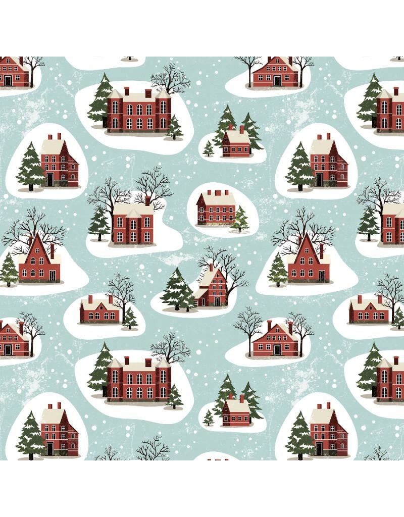 Christmas Collection Yuletide by Tim Holtz, Winter Village in Aqua, Dinner Napkin