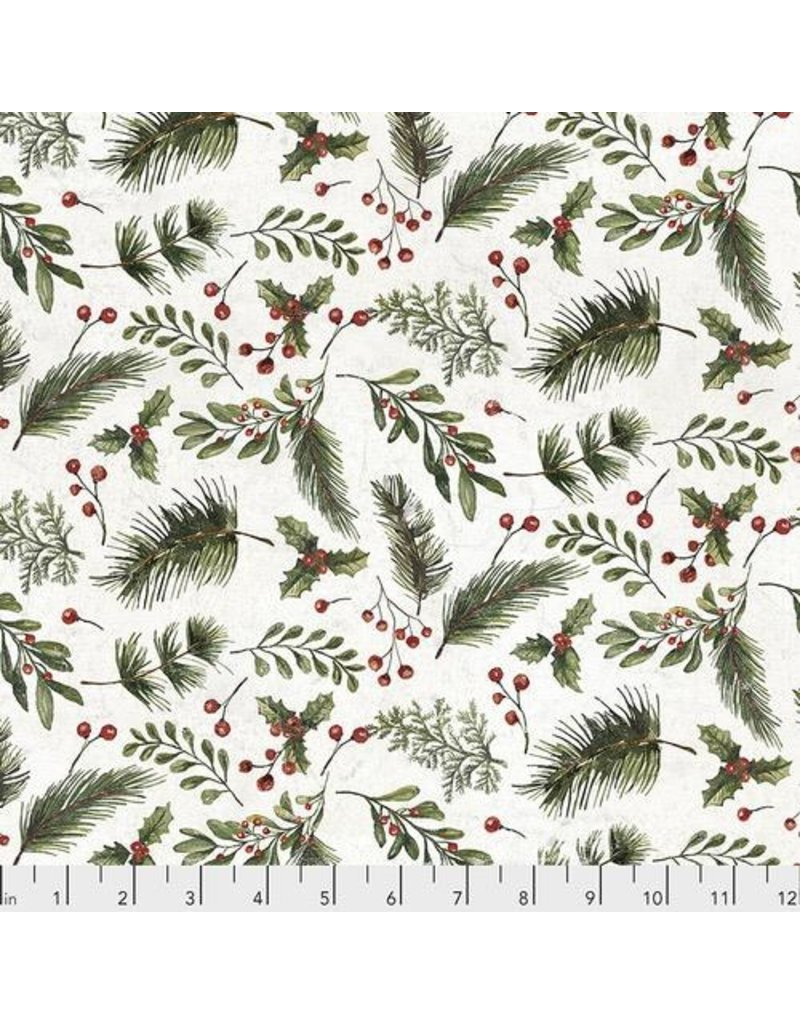 Christmas Collection Yuletide by Tim Holtz, Festive Greens in White, Dinner Napkin