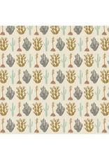 Cotton + Steel All Through the Land, Desert in Dark Ash with Metallic on Unbleached Cotton, Fabric Half-Yards AM102-DA1UM