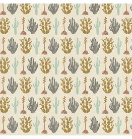 Cotton + Steel All Through the Land, Desert in Dark Ash with Metallic on Unbleached Cotton, Fabric Half-Yards AM102-DA1UM