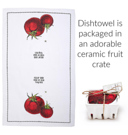 """Farm to Table, Kitchen Towel in a Fruit Crate """"Feelin' Good From My Head Tomatoes"""""""