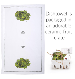 """Farm to Table, Kitchen Towel in a Fruit Crate """"Lettuce Eat"""""""