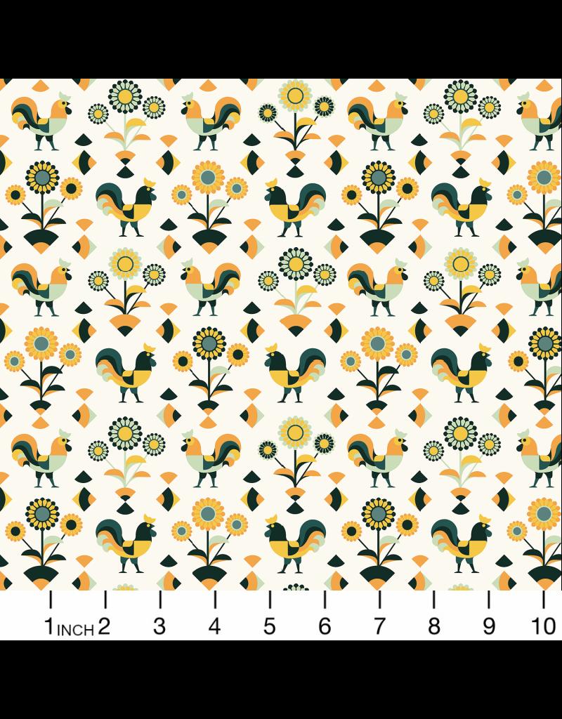 RJR Fabrics Lil' Bit Country, Rockin' Rooster in Green, Fabric Half-Yards RJ1901-GR3