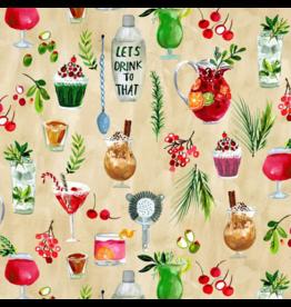 August Wren December to Remember, Winter Drinks, Fabric Half-Yards STELLA-DAW1582