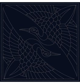 Olympus Sashiko Cloth, Two Cranes in Navy