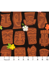PD's Alexander Henry Collection Tiki Dreams, Tahiti Tiki in Black, Dinner Napkin