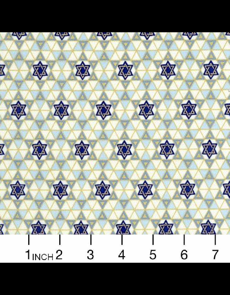 Alexander Henry Fabrics Hanukkah, Tiny Star of David with Gold Metallic, Fabric Half-Yards M5148