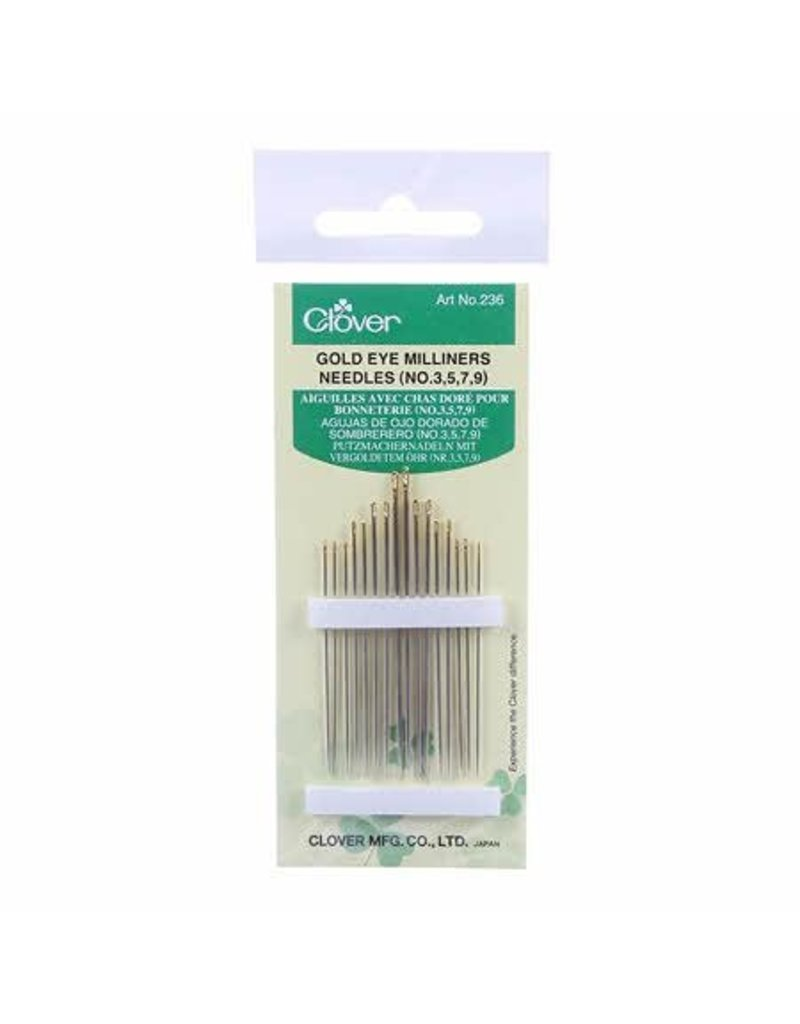 Clover, Gold Eye Milliners Needles - Set of 16, Sizes  No. 3-9