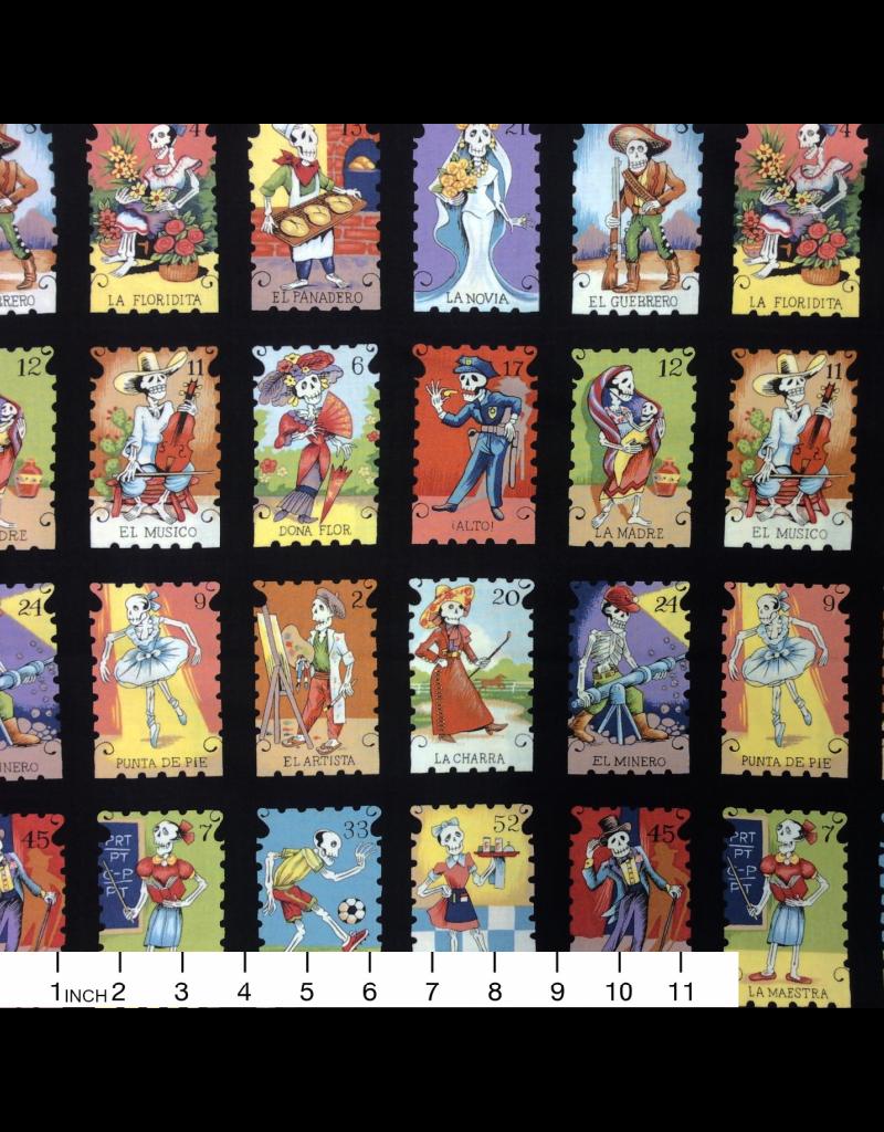 Alexander Henry Fabrics Folklorico, Cartas Marcadas in Black, Fabric Half-Yards 7666G