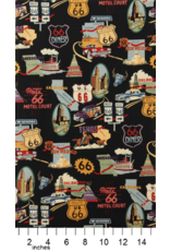 Alexander Henry Fabrics Nicole's Prints, Route 66 in Black, Fabric Half-Yards 1585 CR