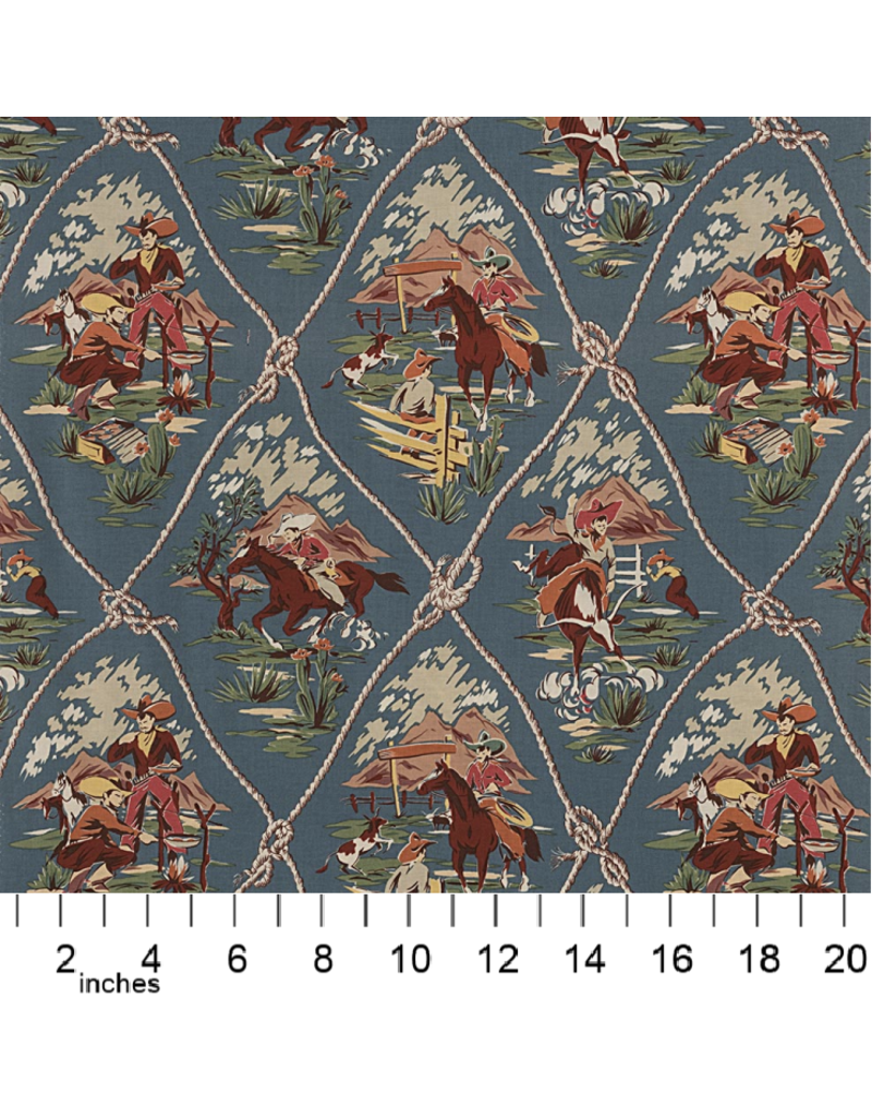 Alexander Henry Fabrics Santa Fe, Roping Ranch in Chambray, Fabric Half-Yards 8026DR
