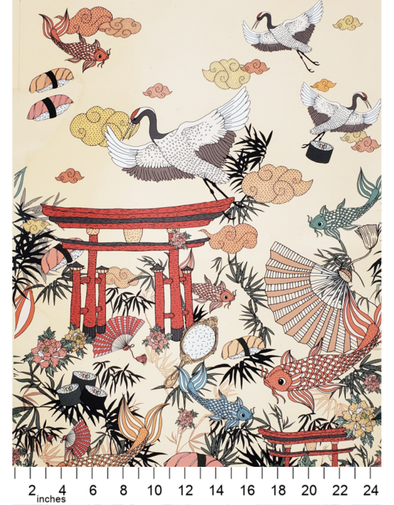 PD's Alexander Henry Collection Nicole's Prints, Lost in Tokyo in Apricot, Dinner Napkin