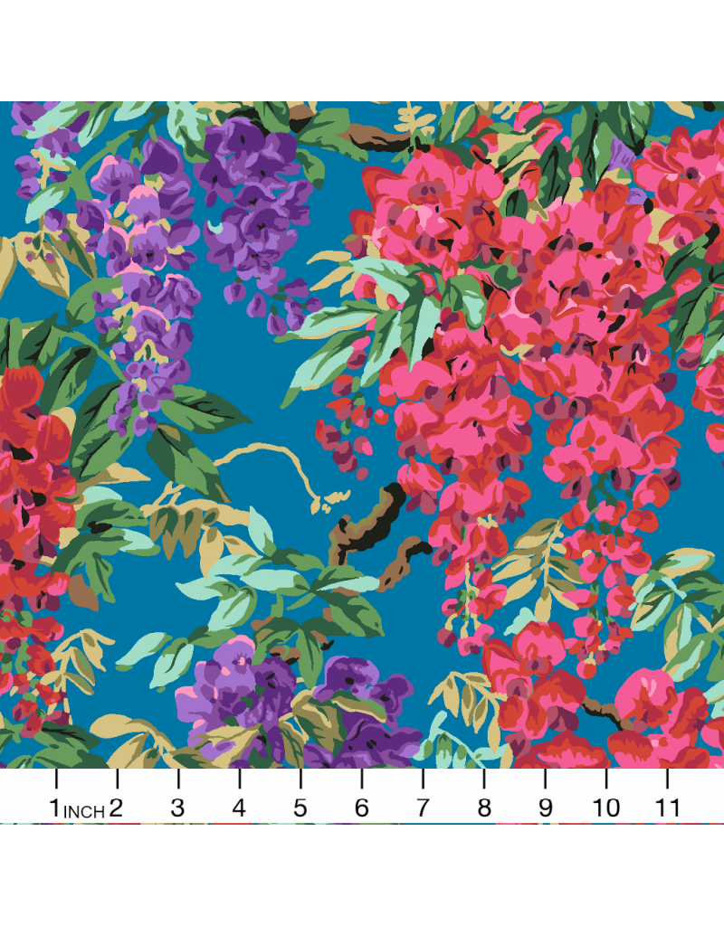 Philip Jacobs Kaffe Collective 2020, Wisteria in Teal, Fabric Half-Yards  PWPJ102