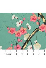 PD's Alexander Henry Collection Indochine, Golden Garden in Teal, Dinner Napkin