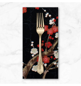 PD's Alexander Henry Collection Indochine, Golden Garden in Black, Dinner Napkin