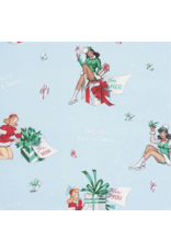 Alexander Henry Fabrics Christmas Time, For You in Blue, Fabric Half-Yards 8837 BR