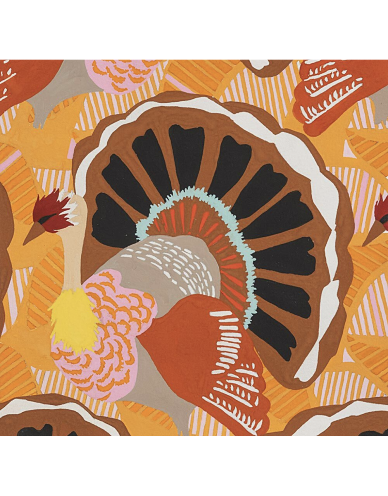 PD's Alexander Henry Collection Fall Harvest, Turkey Day in Brown, Dinner Napkin