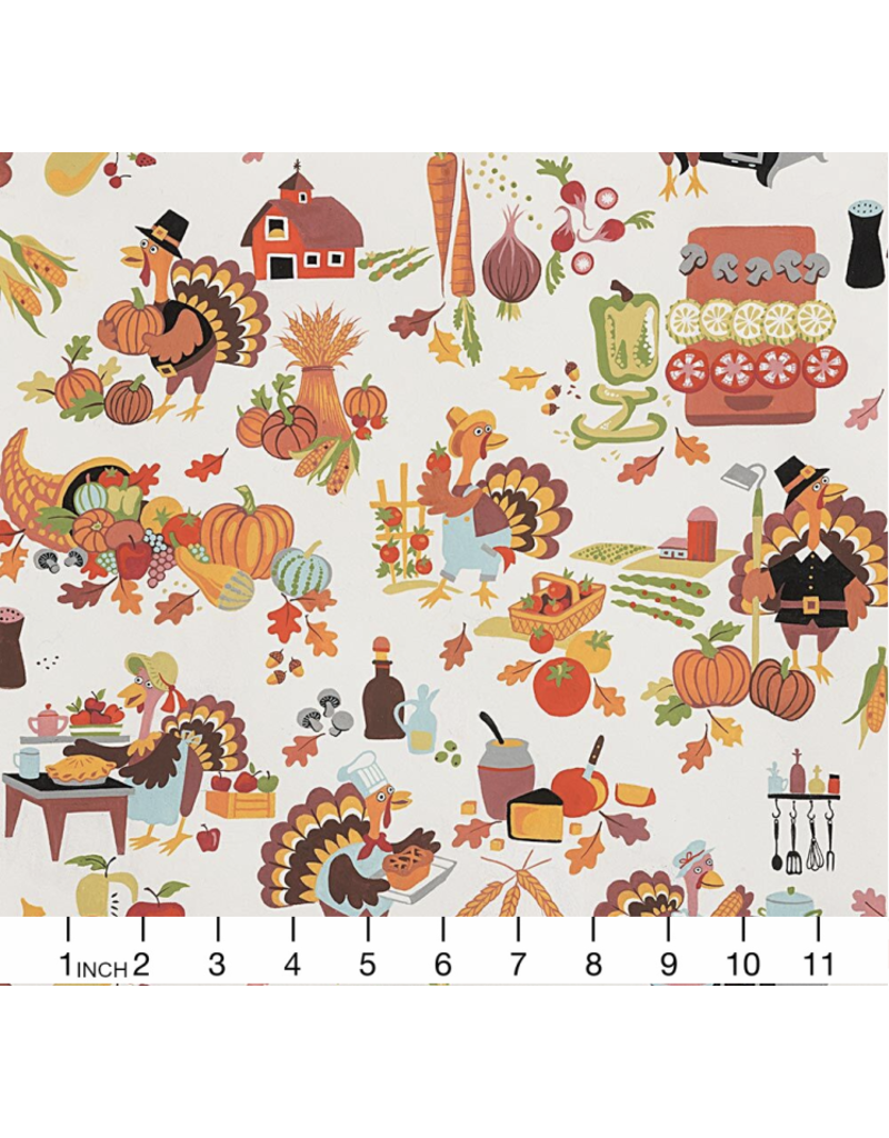 Alexander Henry Fabrics Fall Harvest, Gobbling the Feast in Natural, Fabric Half-Yards 8823 A