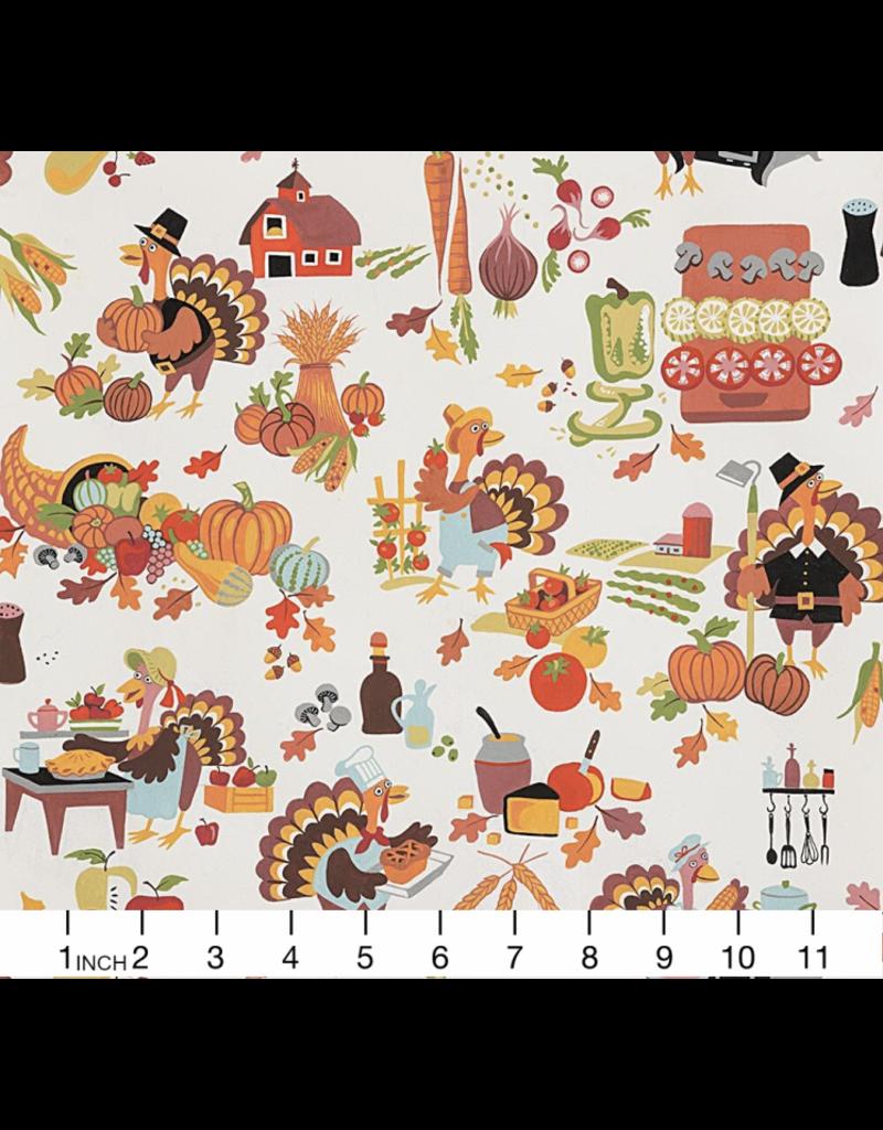 PD's Alexander Henry Collection Fall Harvest, Gobbling the Feast, Dinner Napkin