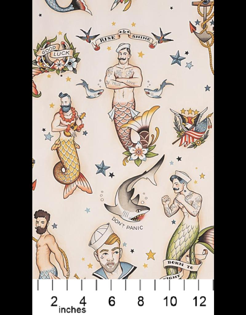 Alexander Henry Fabrics Nicole's Prints, Rise and Shine, Mermen in Tea, Fabric Half-Yards 8833 AR