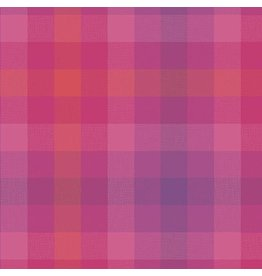 Alison Glass Kaleidoscope Stripes and Plaids, Plaid in Magenta, Fabric Half-Yards WV-9541