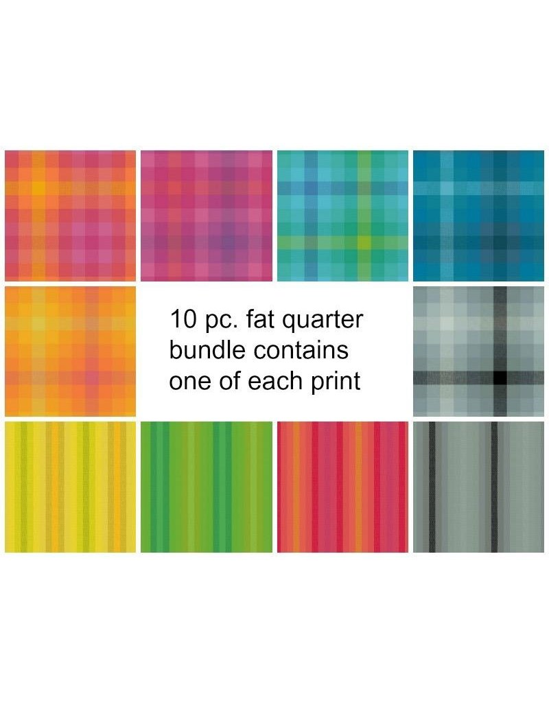 Picking Daisies Kaleidoscope Stripes & Plaids, Fat Quarter Bundle containing 10 pcs.