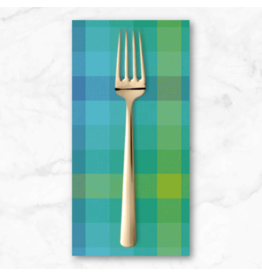 PD's Alison Glass Collection Kaleidoscope Stripes and Plaids, Plaid in Teal, Dinner Napkin