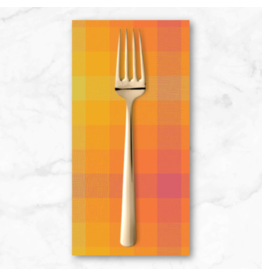 PD's Alison Glass Collection Kaleidoscope Stripes and Plaids, Plaid in Marmalade, Dinner Napkin