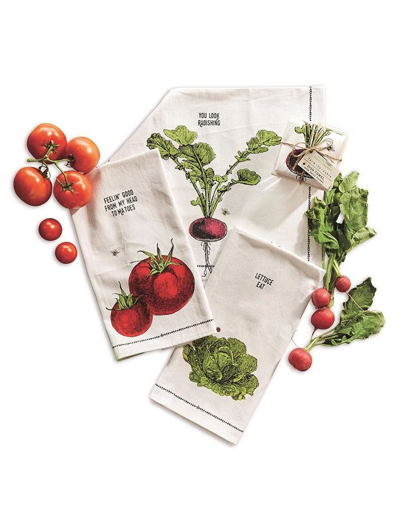 "Farm to Table, Kitchen Towel in a Fruit Crate ""Lettuce Eat"""