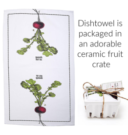 """BACK IN STOCK MID OCTOBER-Farm to Table, Kitchen Towel in a Fruit Crate """"You Look Radishing"""""""