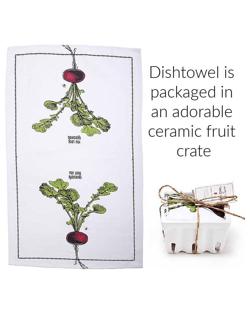 "BACK IN STOCK LATE OCTOBER-Farm to Table, Kitchen Towel in a Fruit Crate ""You Look Radishing"""