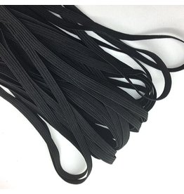 "Elastic, 1/4"" flat - Black, by the yard"
