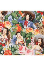 PD's Alexander Henry Collection Folklorico, Las Senoritas in Bright, Dinner Napkin