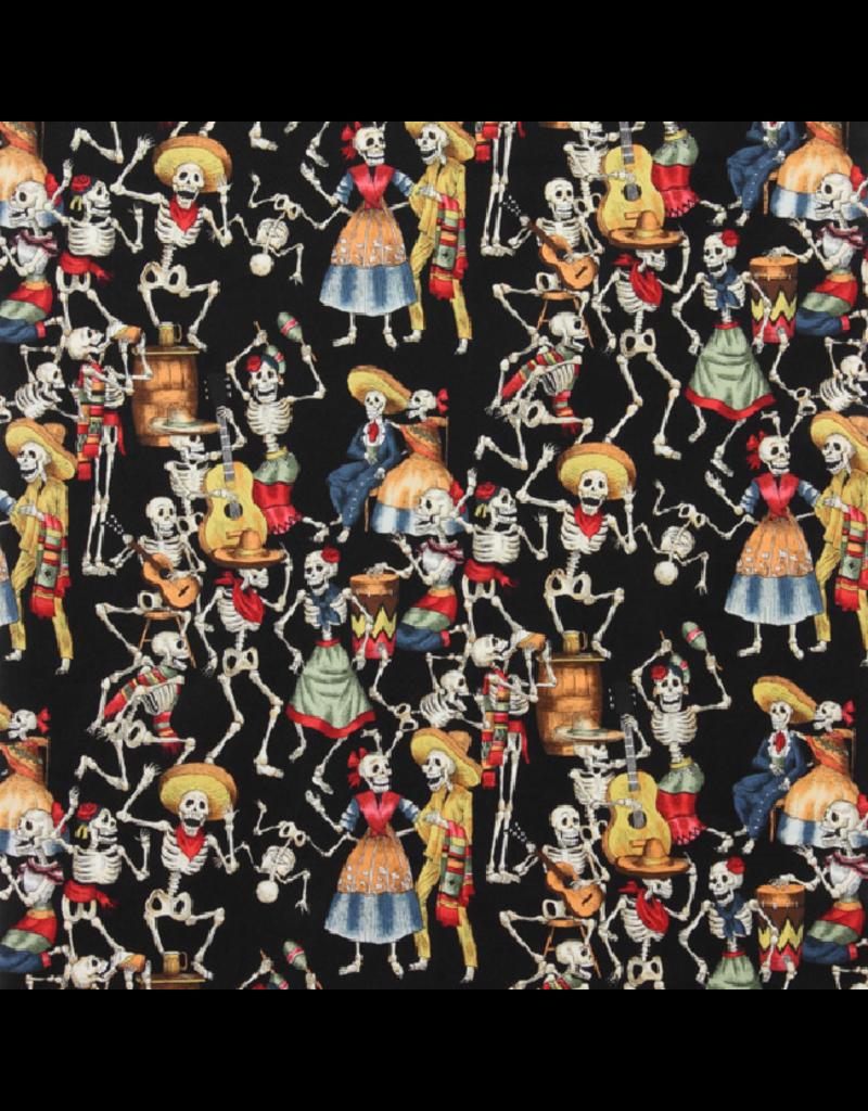 PD's Alexander Henry Collection Folklorico, Fiesta de los Muertos in Black, Dinner Napkin