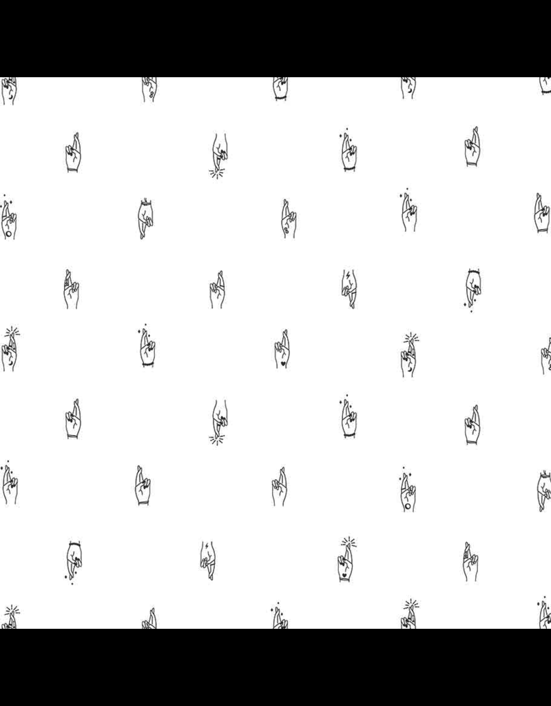 Figo Lucky Charms, Fingers Crossed in White, Fabric Half-Yards 92001-10