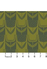 Sarah Golden Perennial, Patchwork Tulips in Olive, Fabric Half-Yards  A-9567-CG