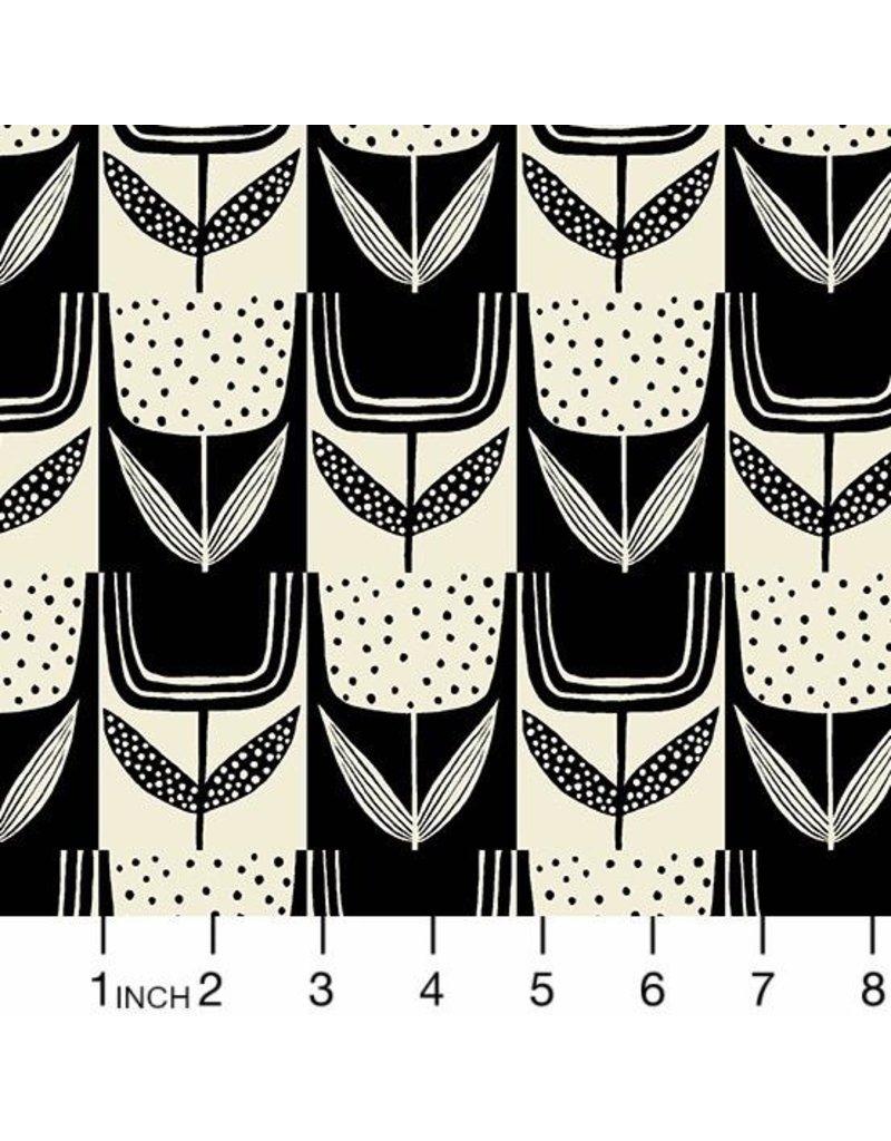 Sarah Golden Perennial, Patchwork Tulips in Charcoal, Fabric Half-Yards A-9567-EK