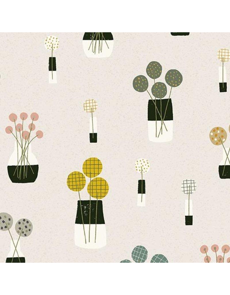 Sarah Golden Perennial, Bouquet in Stone, Fabric Half-Yards A-9564-C