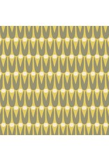 Sarah Golden Perennial, Mid Mod Floral in Bitter Lemon, Fabric Half-Yards  A-9566-CY