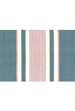 "Moda Woven Toweling, 16"", Picnic Point Tea in Blue with Red and White Stripes  992 239, Sold by the Yard"