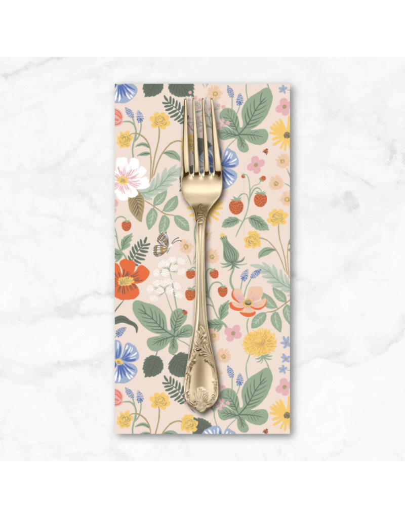 PD's Rifle Paper Co Collection Strawberry Fields, Floral in Blush, Dinner Napkin